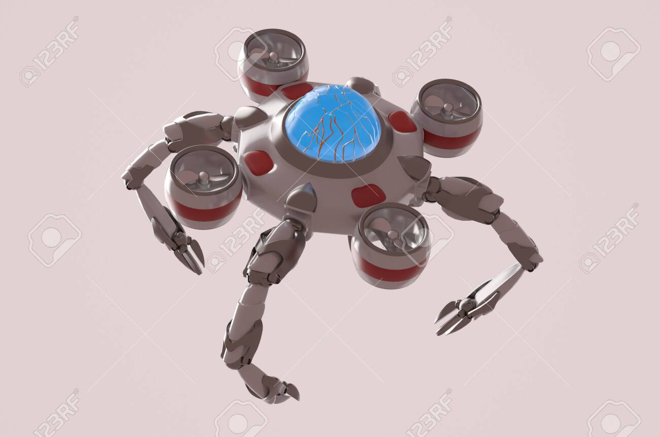 The nano robot on the white background,3d render. - 135310501