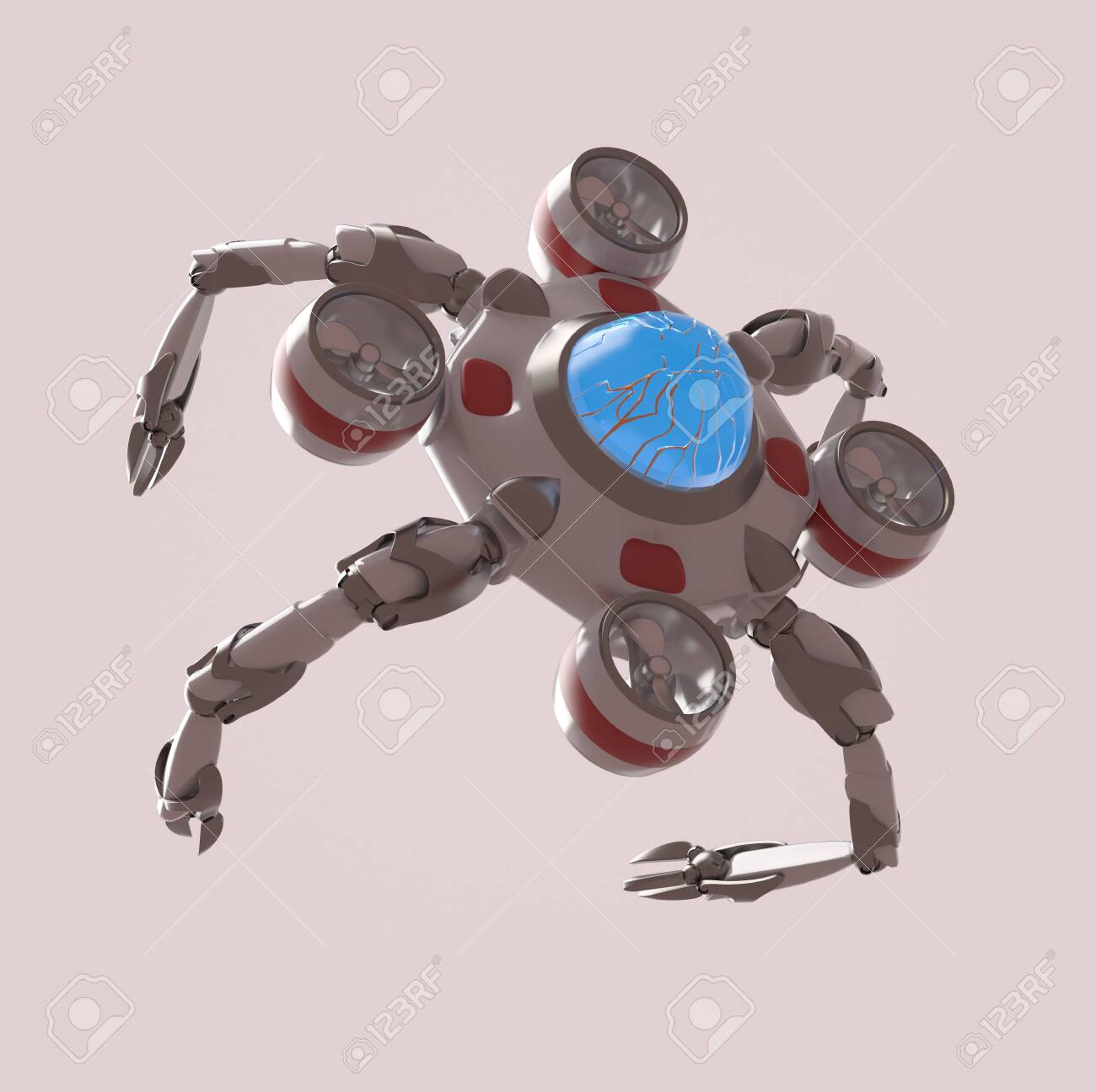The nano robot on the white background,3d render. - 135310444