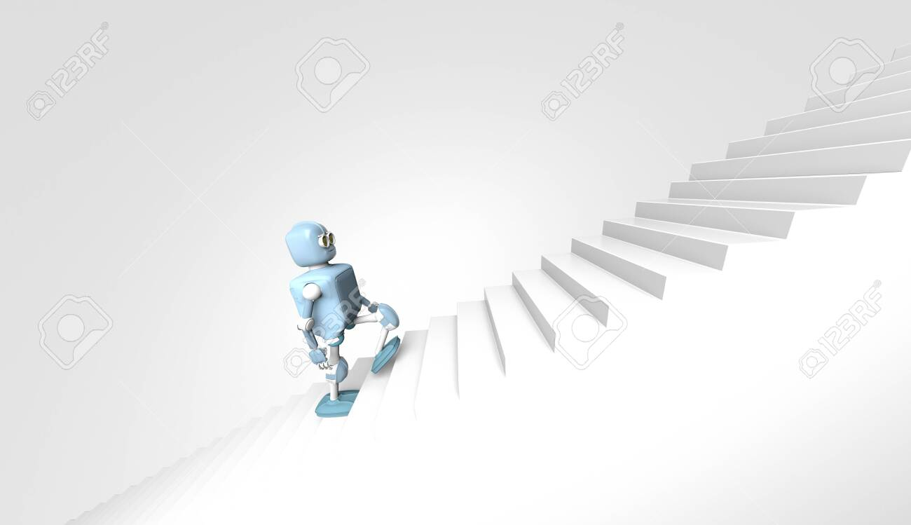 The robot walks on the stair, on the white bacground,3d render. - 137047487