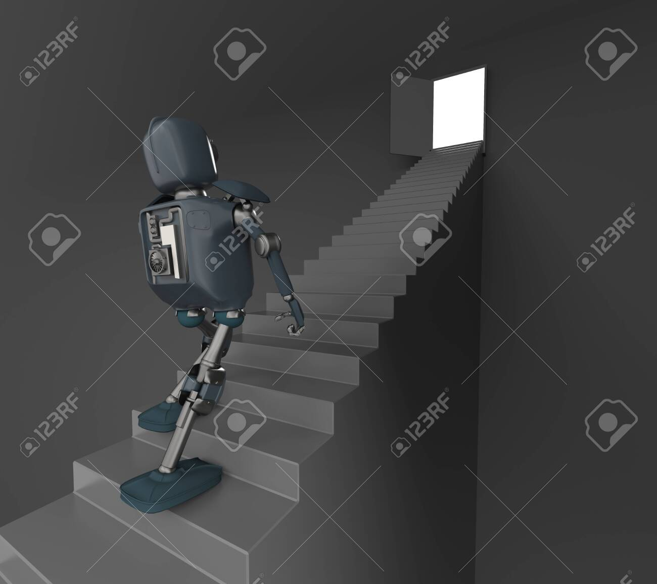 The robot walks on the stair, on the white bacground,3d render. - 137047526