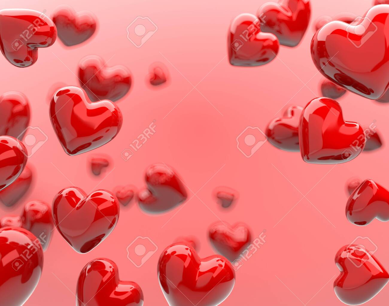 The valentine's Day background with red hearts on pink,3d render. - 135996189