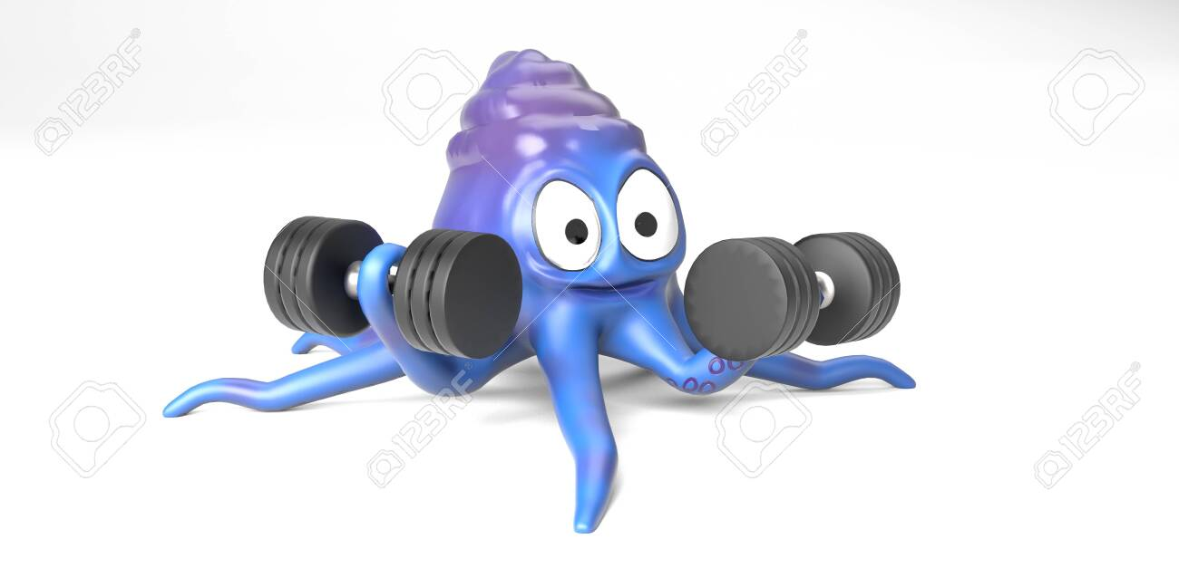The octopus with dumbbell,on the white bacground,3d render. - 137047522