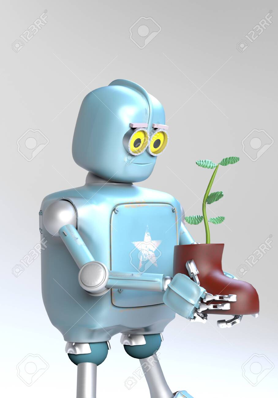 The retro robot with plant in shoe,isolated on grey bacground, 3d render. - 137189537