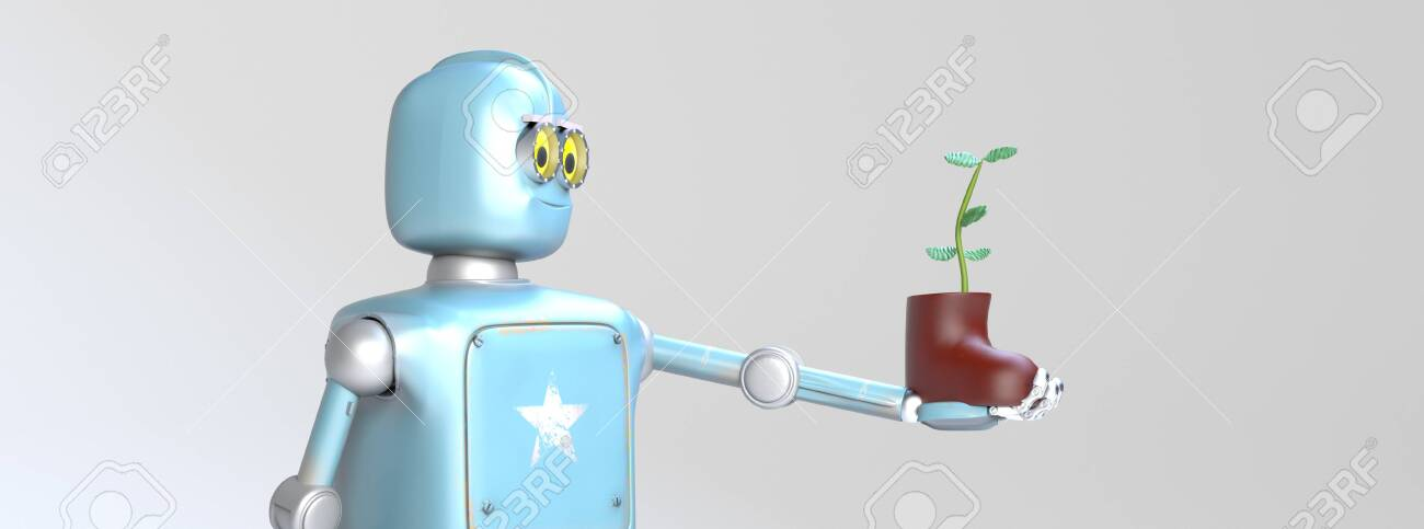 The retro robot with plant in shoe,isolated on grey bacground, 3d render. - 137189573