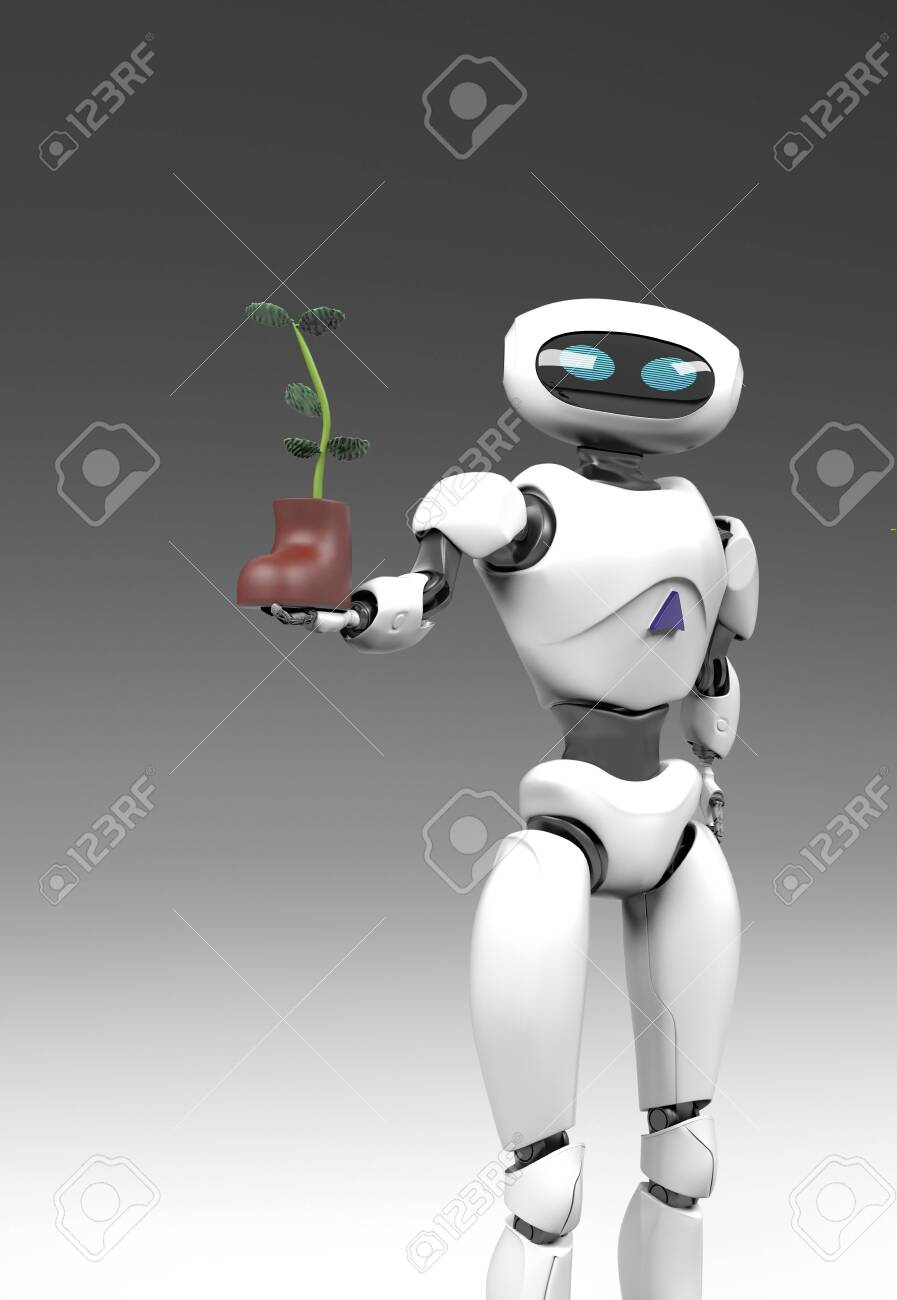 The obot with plant in shoe,isolated on grey bacground, 3d render. - 138836859