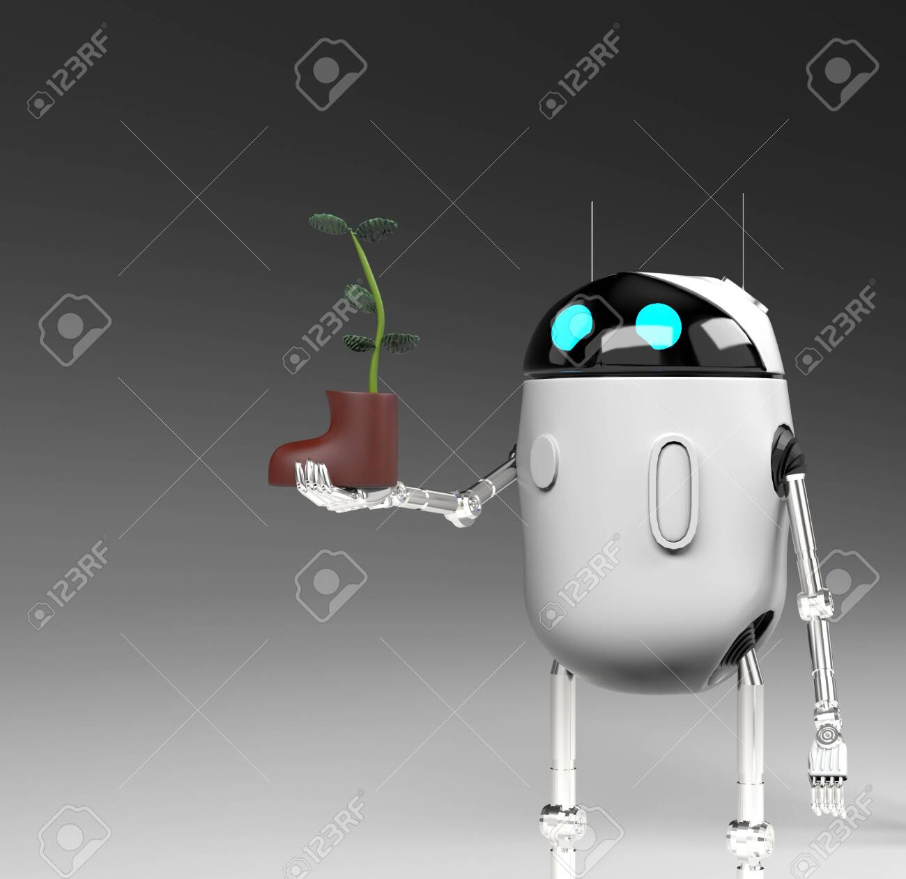 The robot with plant in shoe,isolated on grey bacground, 3d render. - 139120495
