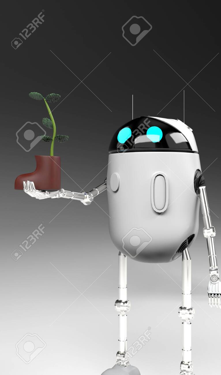 The robot with plant in shoe,isolated on grey bacground, 3d render. - 139120426