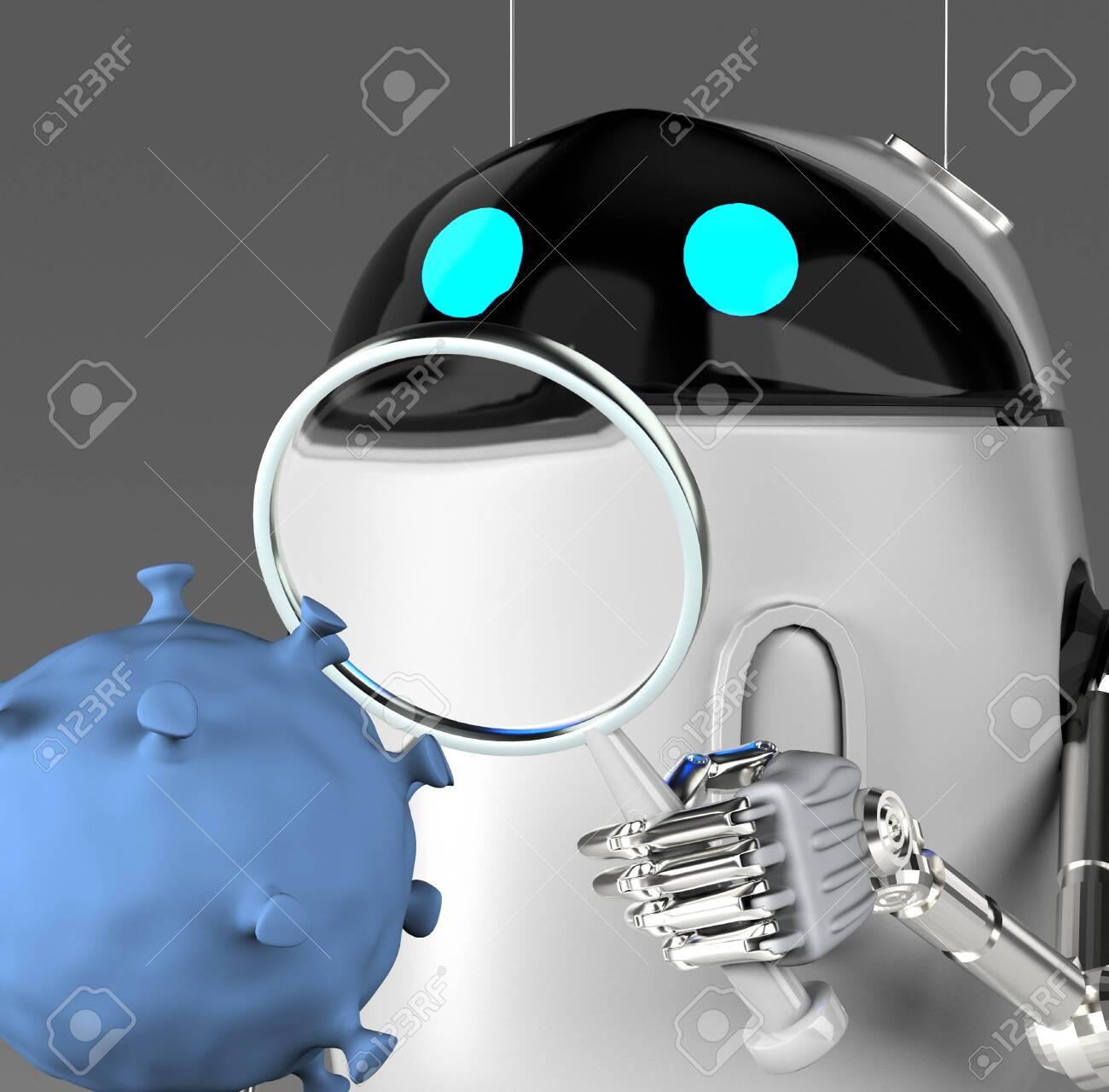 The robot studies a coronavirus with magnifier,robot with bacterium,3d render. - 141047812