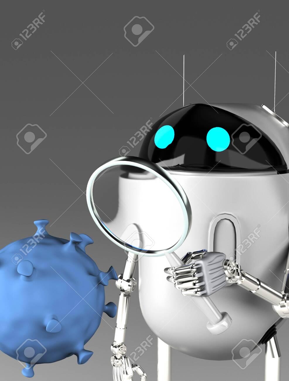 The robot studies a coronavirus with magnifier,robot with bacterium,3d render. - 139309803
