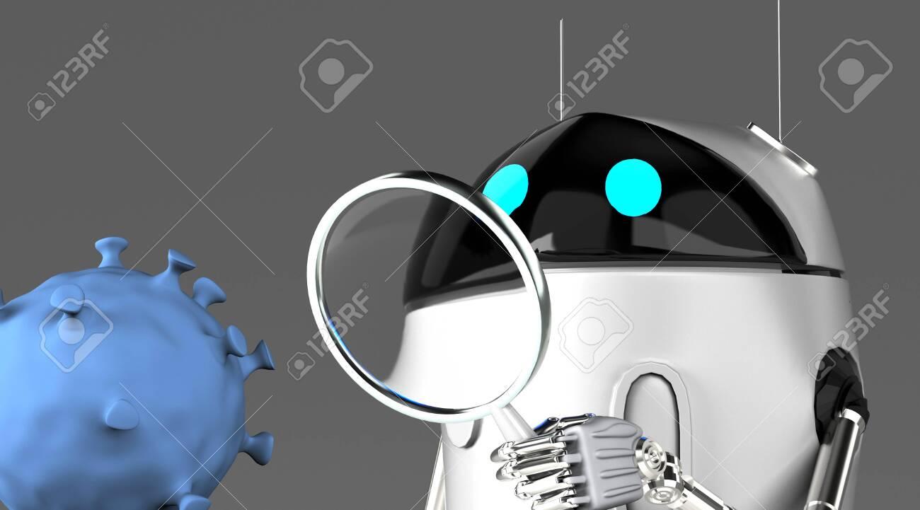 The robot studies a coronavirus with magnifier,robot with bacterium,3d render. - 139309635
