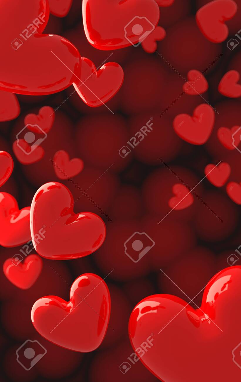 The valentine's Day background with red hearts on red,3d render. - 139596736