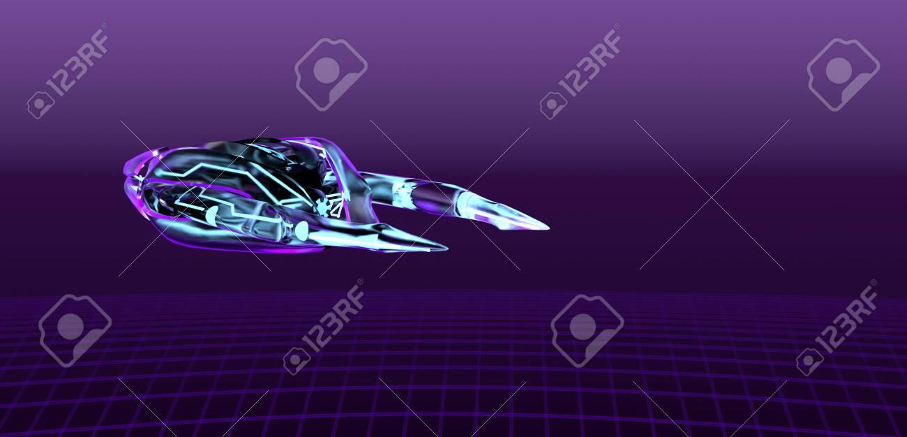 The neon spaceship on purple bacground,cyber pank,3d render. - 140469602