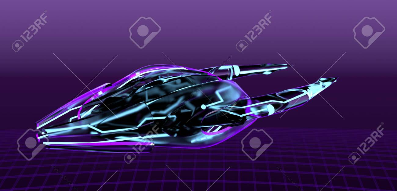 The neon spaceship on purple bacground,cyber pank,3d render. - 140489627