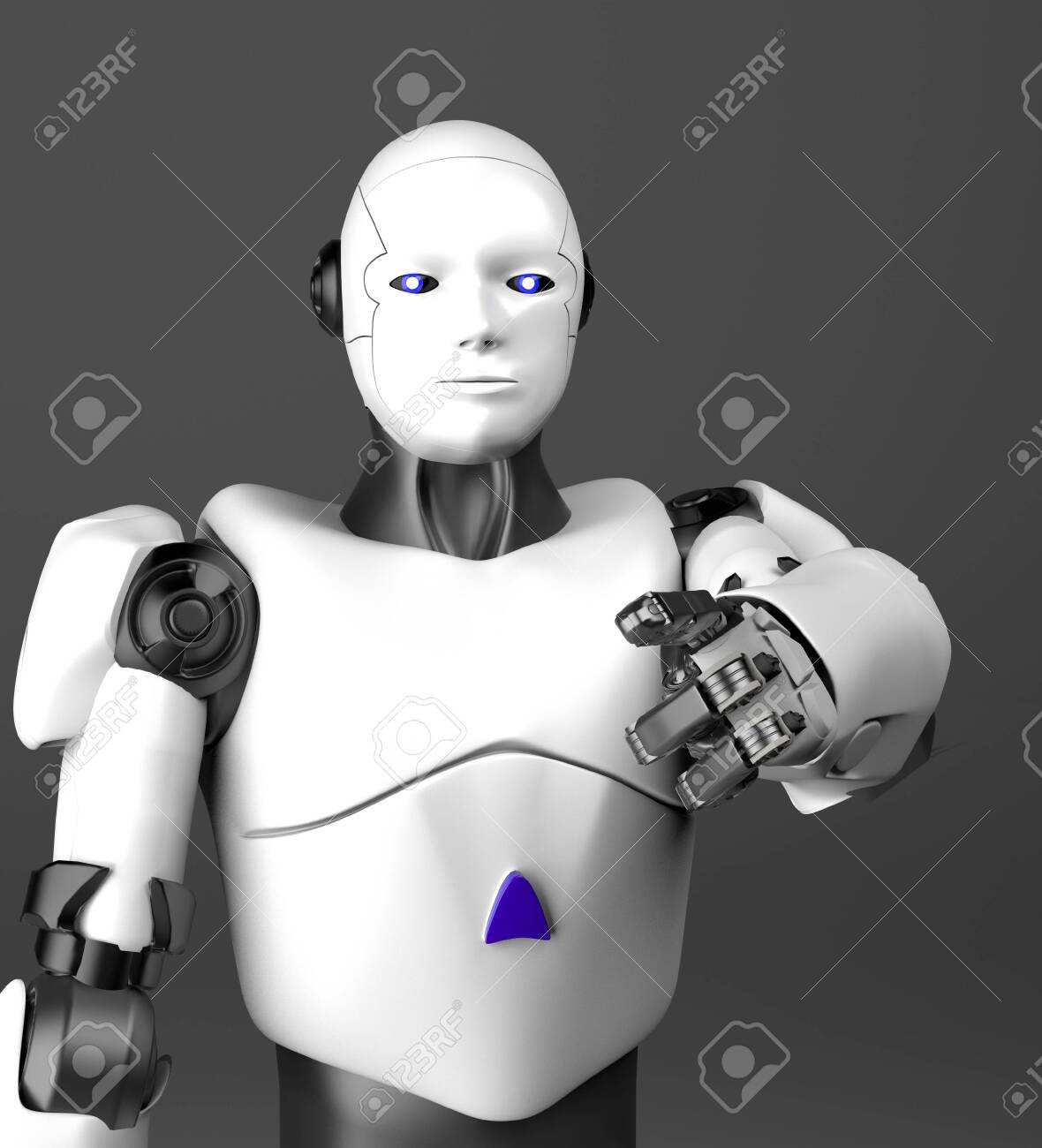 The white humanoid robot points a finger,3d render. - 143670187