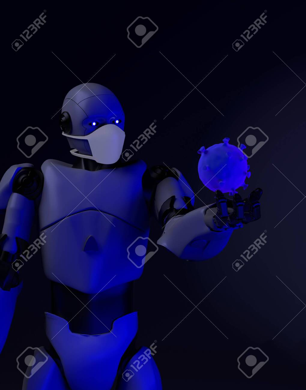 The robot studies a coronavirus with gauze mask medical,nano robot with bacterium,3d render. - 143238467