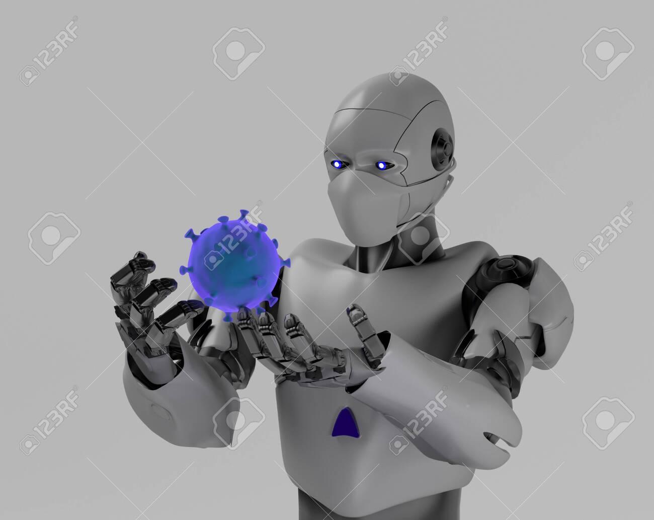 The robot studies a coronavirus with gauze mask medical,nano robot with bacterium,3d render. - 143238480