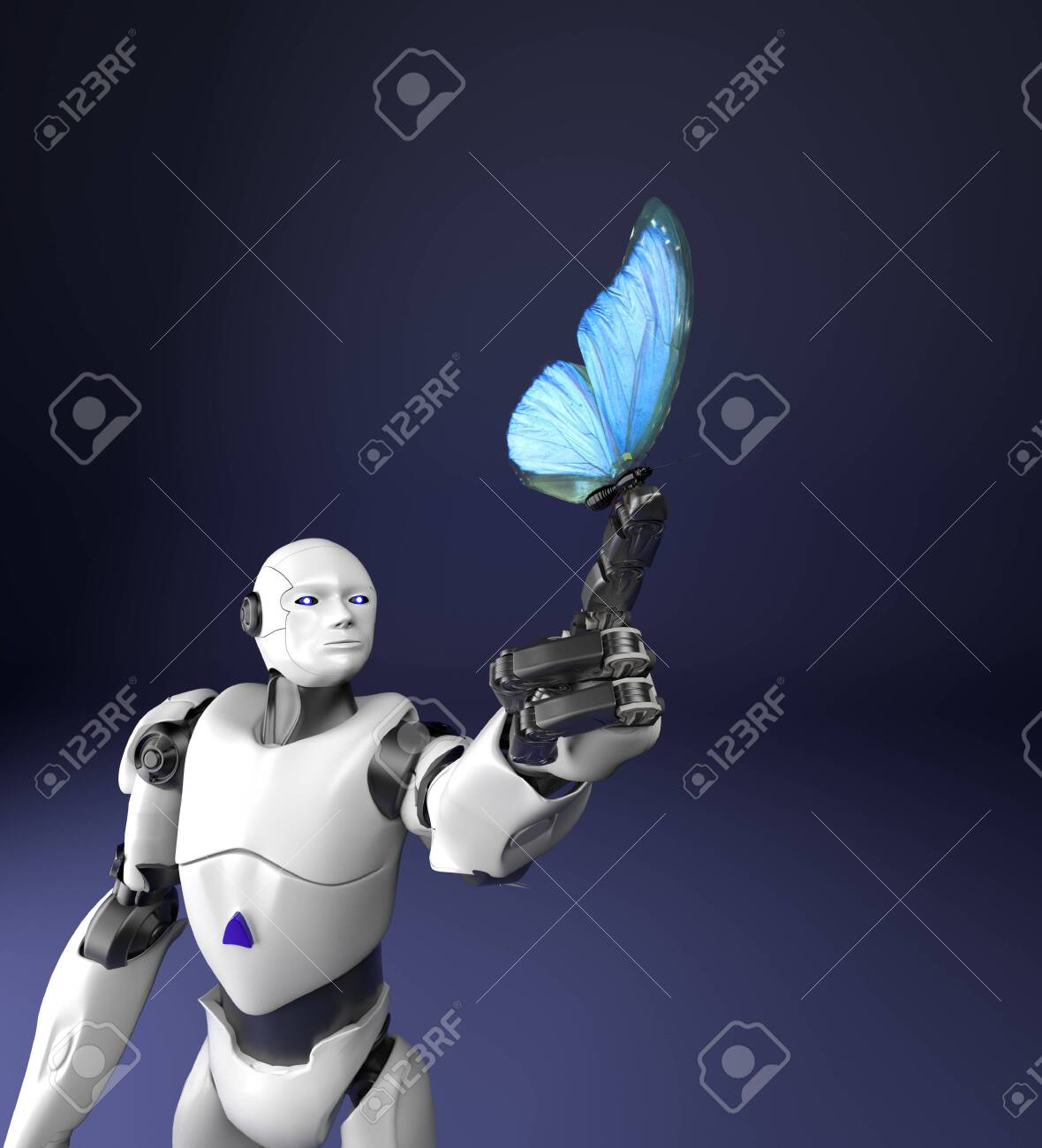 The humanoid robot with butterfly,3d render. - 145221532