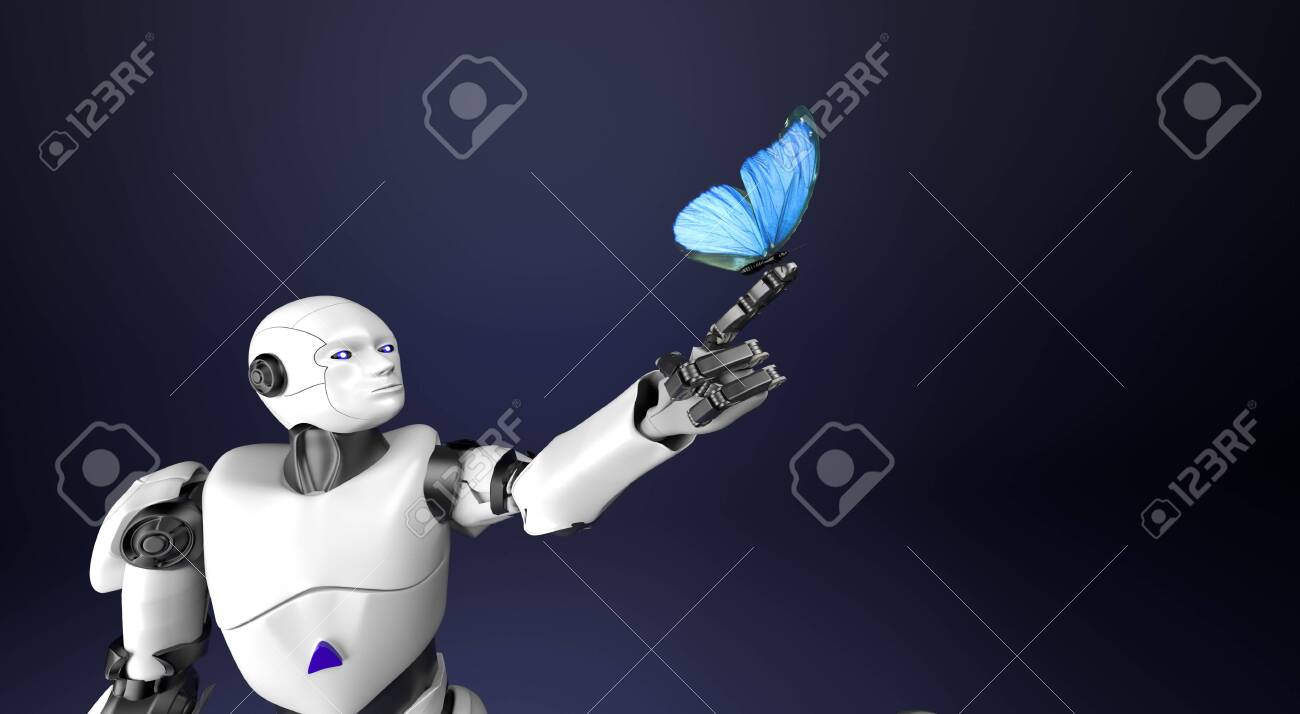 The humanoid robot with butterfly,3d render. - 145221531