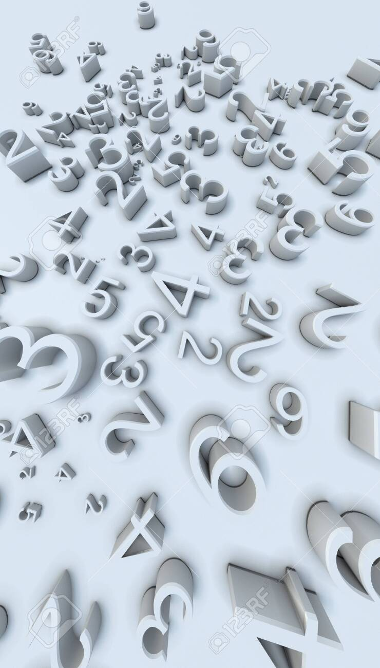 3d Rendering Numbers On White Background - 145570004