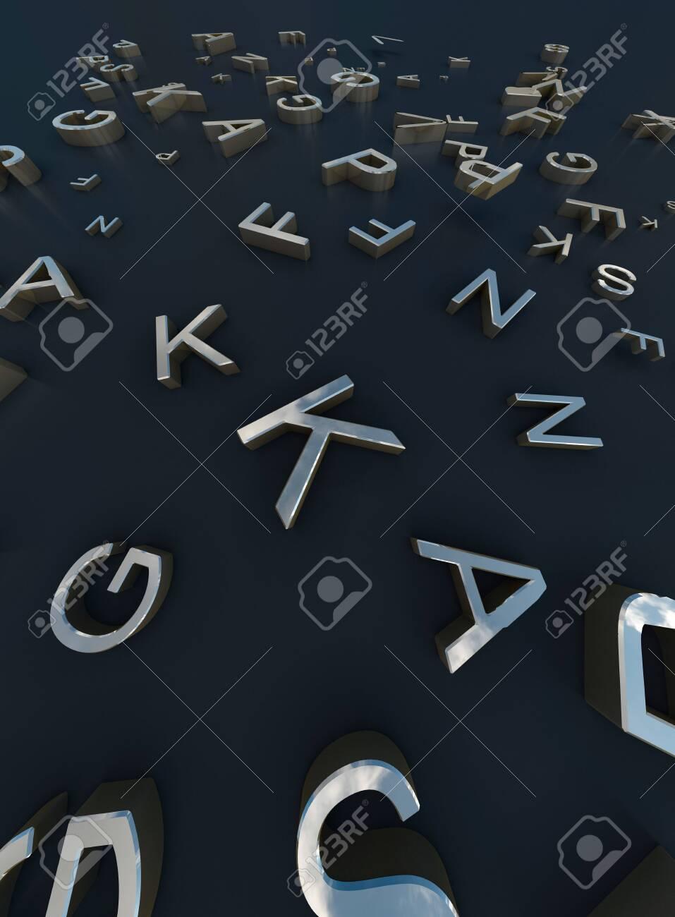 3d Rendering gold words On black Background - 144809340