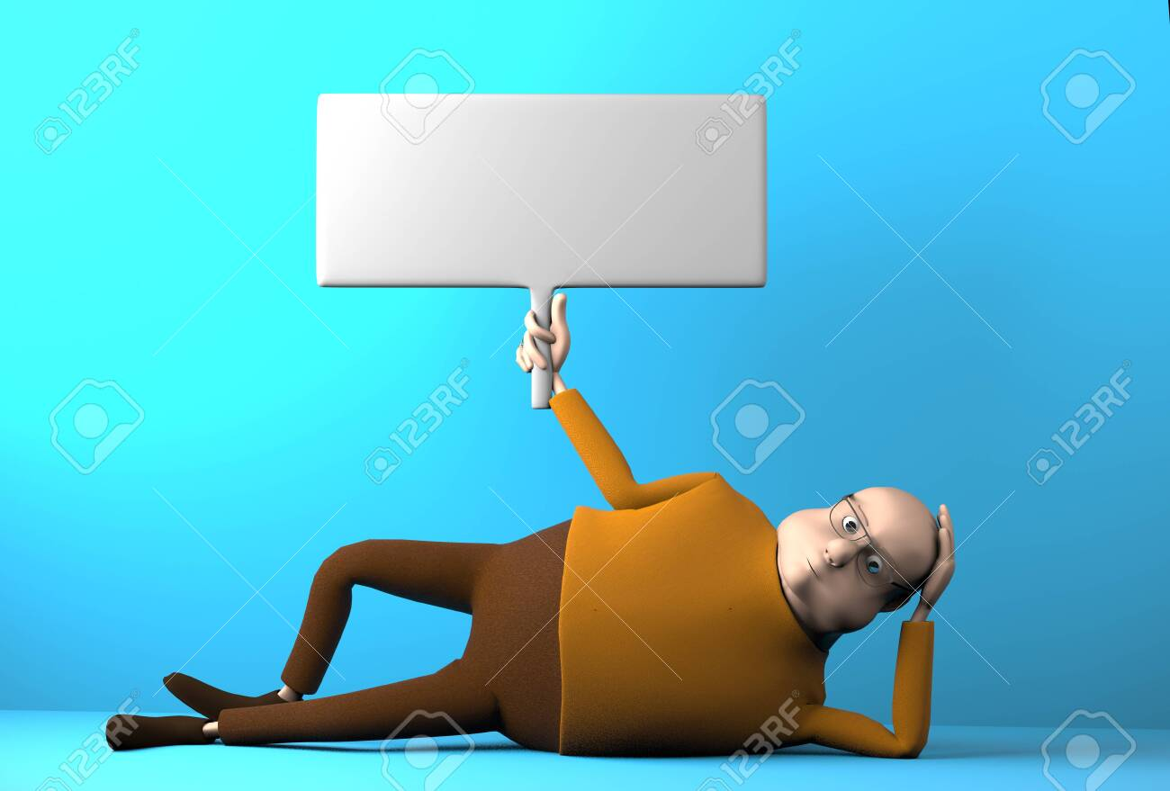 The lazy man with banner in hand lying on the floor,3d render. - 147336565