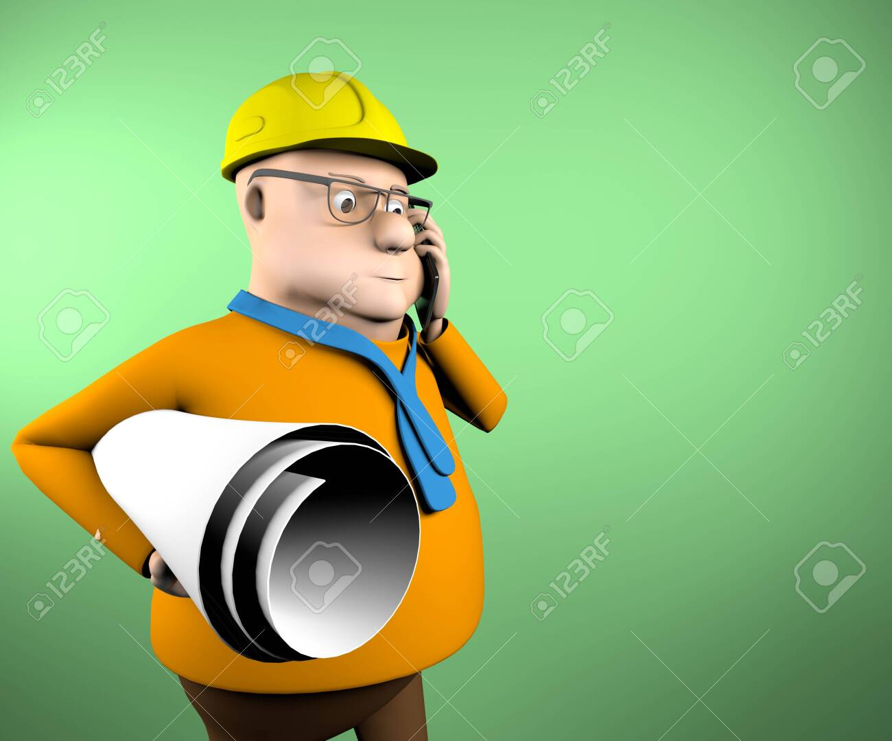 The civil engineer talking on the phone,3d render. - 148007287