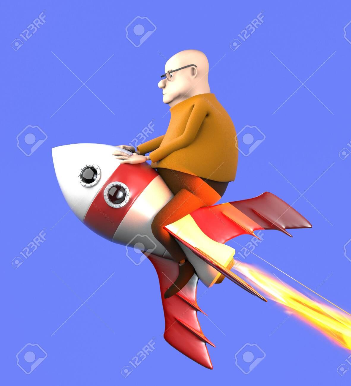 The man on a rocket,cartoon style,3d render. - 148349323