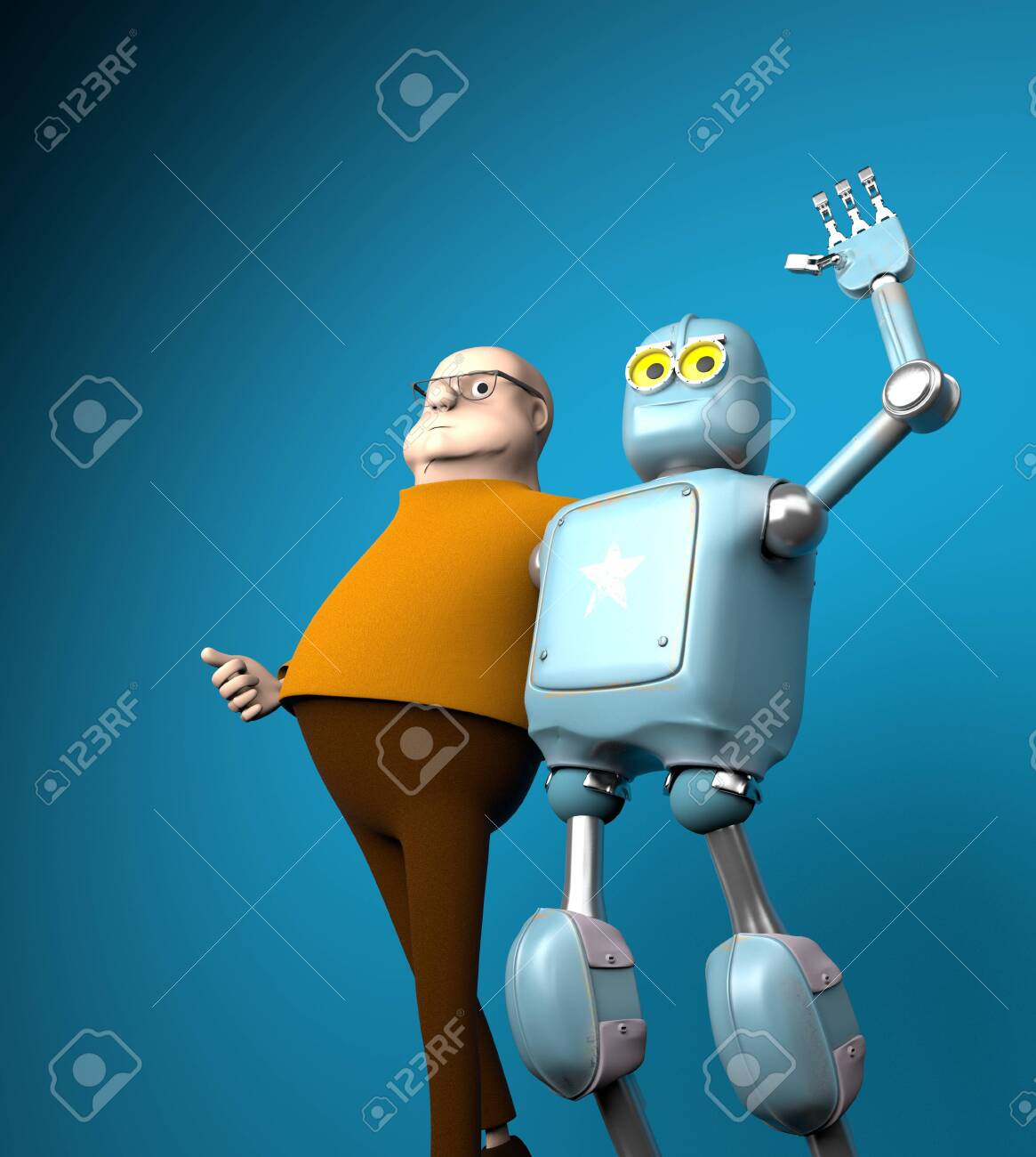 The robot and man friend, artificial intelligence training - 150140839