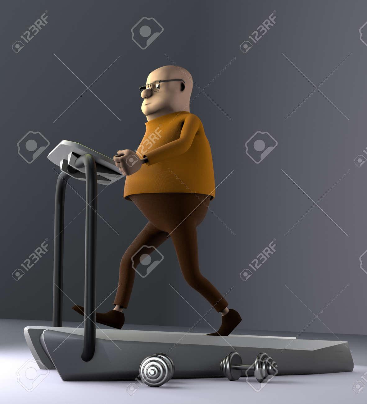 The man running on a treadmill, 3d render. - 155169174