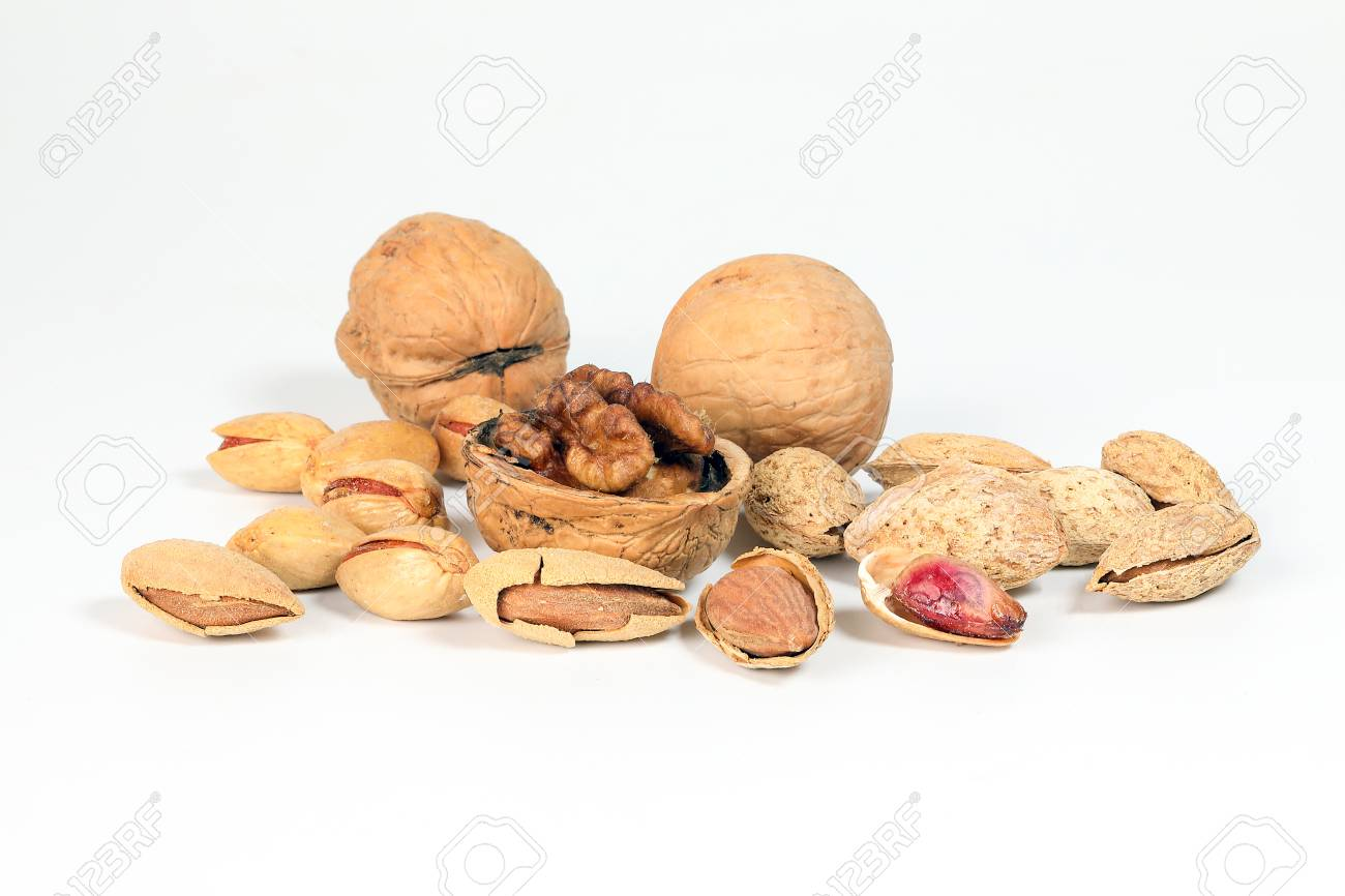 Walnut Almond pistachio nut shell on white background