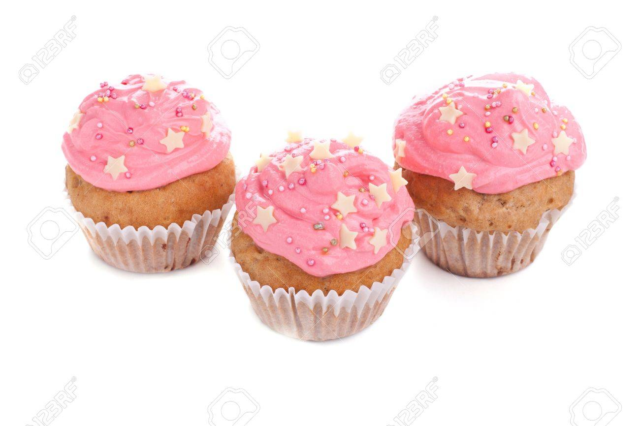 Three pink cupcakes decorated with stars Stock Photo - 15540464