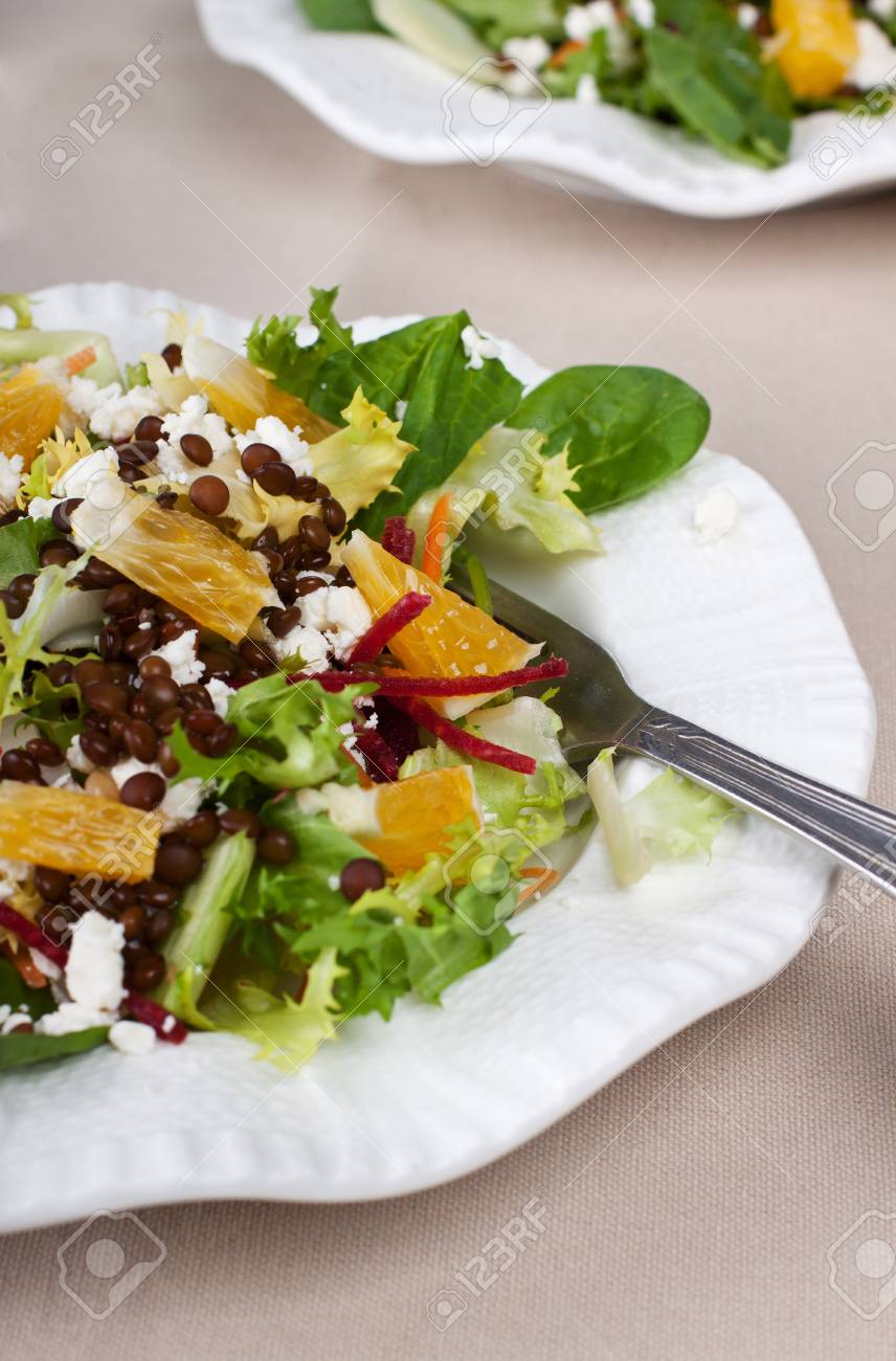 Portion of fresh green salad with lentil and feta cheese Stock Photo - 16603013