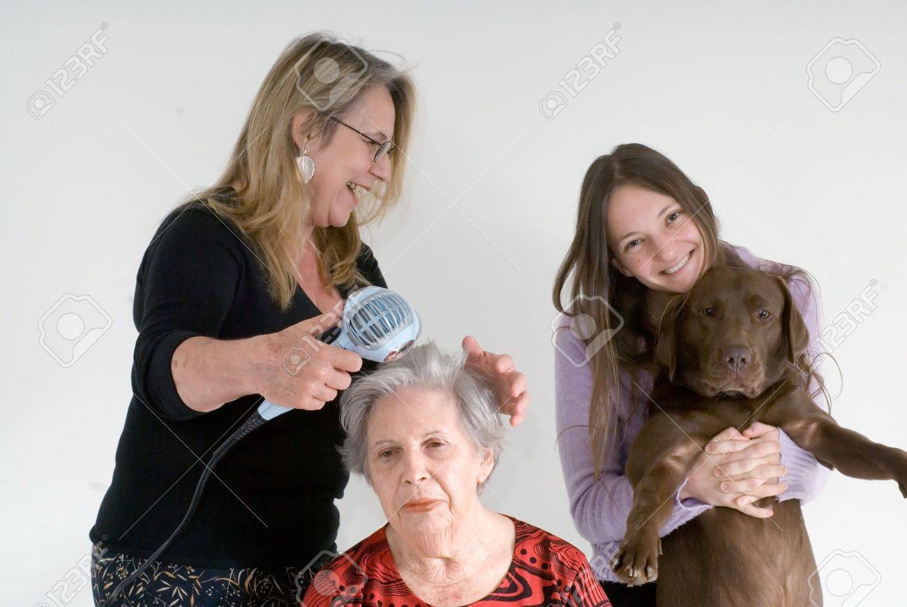 A shot of a daughter, mother, grandmother, and family dog.  The mother is doing the grandmother's hair while the daughter is hugging the dog. Stock Photo - 2987442