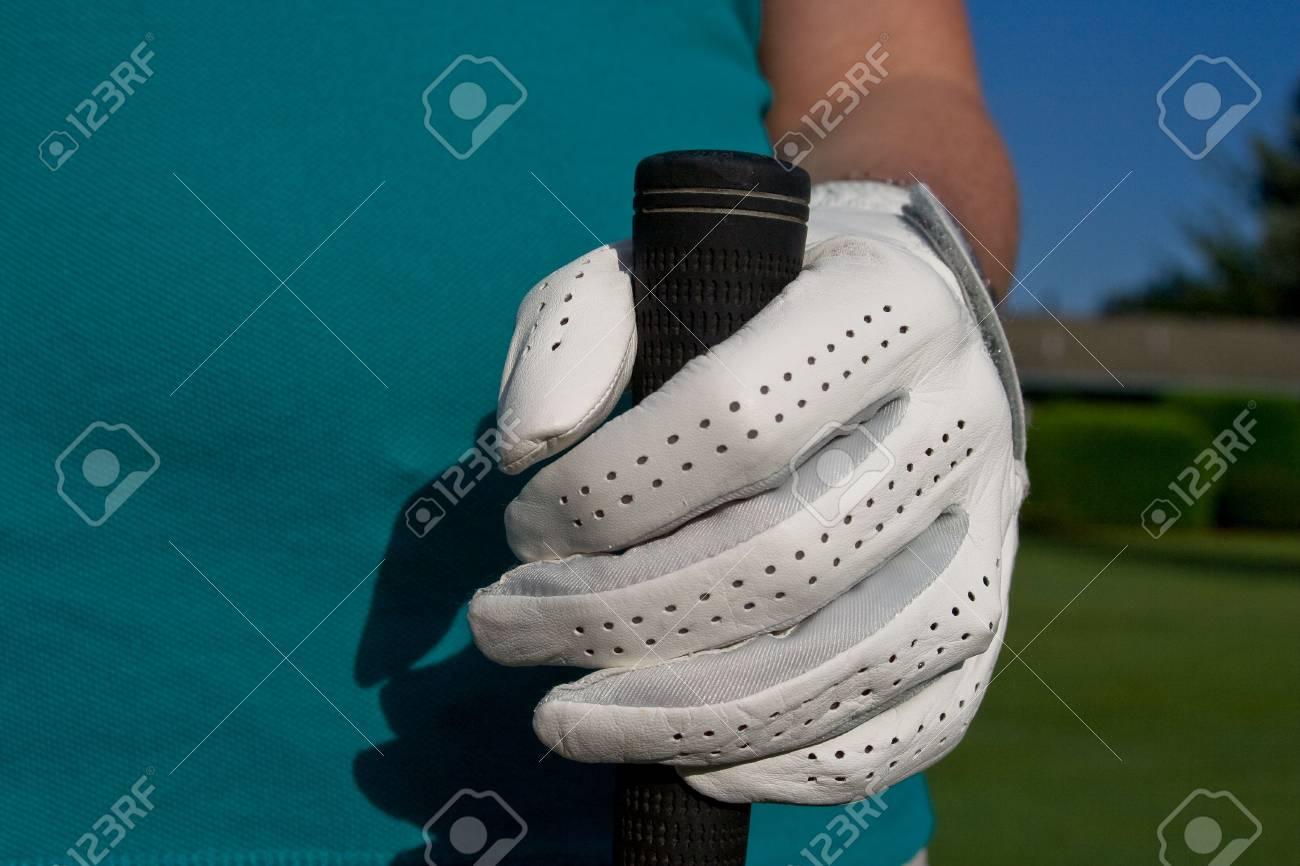 Golfer \\ \'s Hand In Hand Hält Golf Club. Horizontal Gerahmte Foto ...
