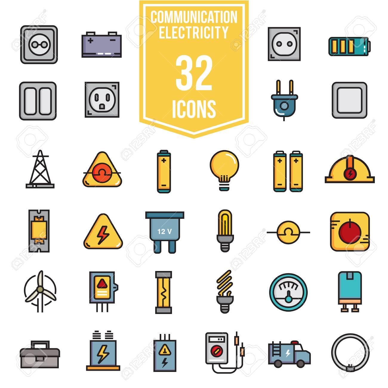Electricity Flat Icon Set Illustration Design, Line Colour Eps10 ...
