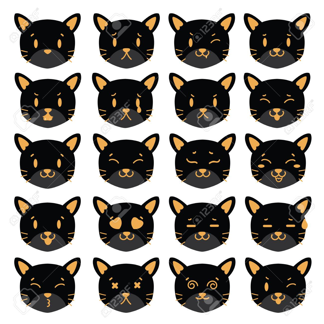 cats vector icon emotion feeling face template royalty free cliparts