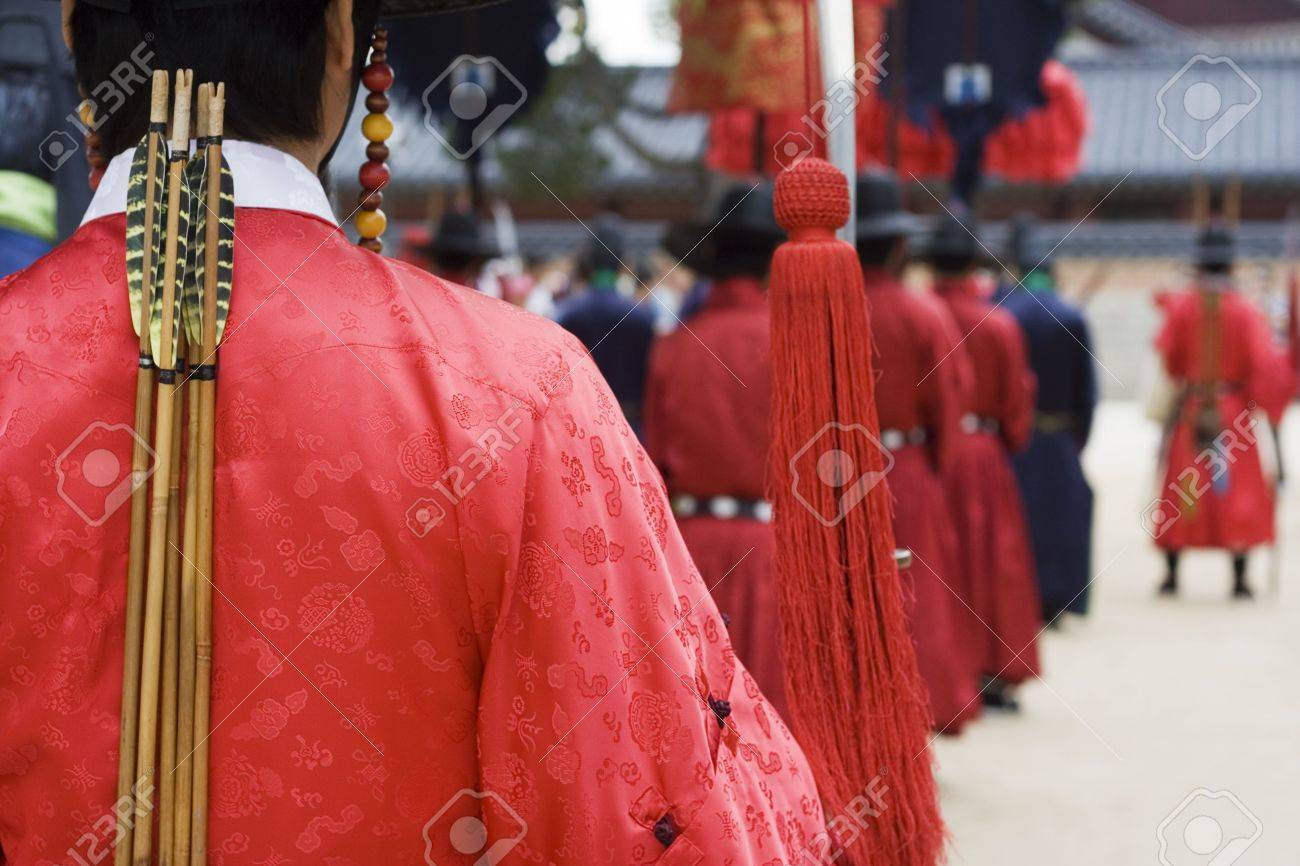 Parade at a Korean Palace for tourist  Actors are dressed up