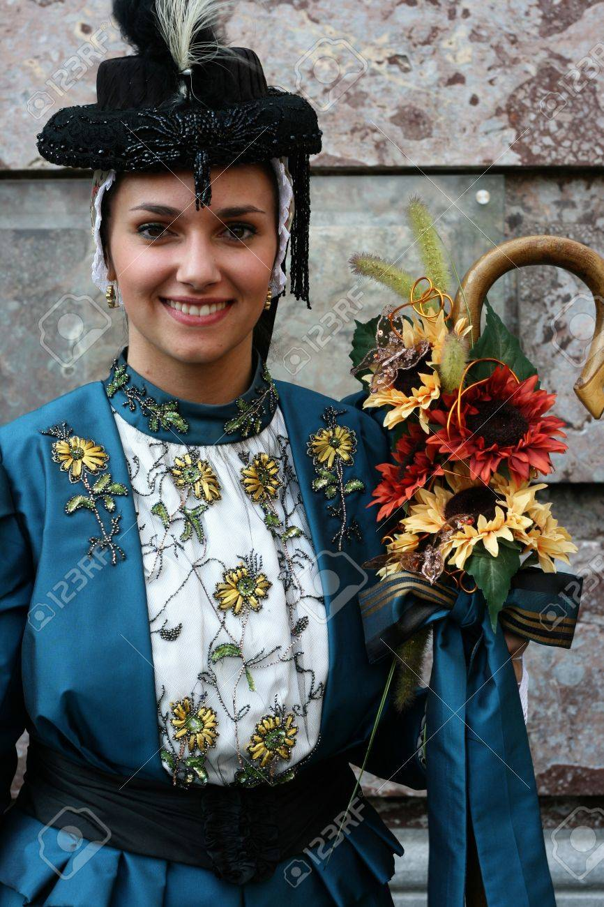Antwerp, Belgium, 23th April 2011, Young French Women in traditional costume, Folk Dance Festival Stock Photo - 9777110