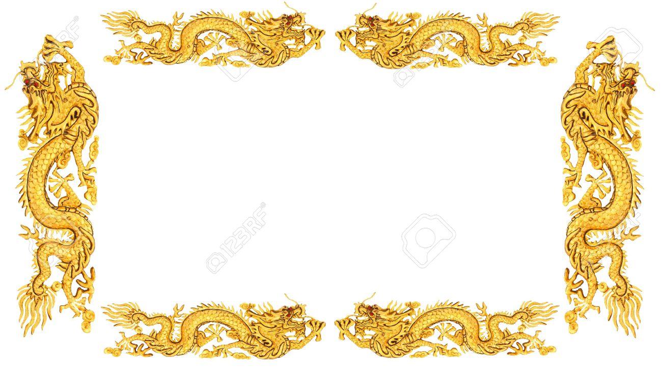 ggolden dragon on white background dragon frame stock photo 13320434 - Dragon Frame