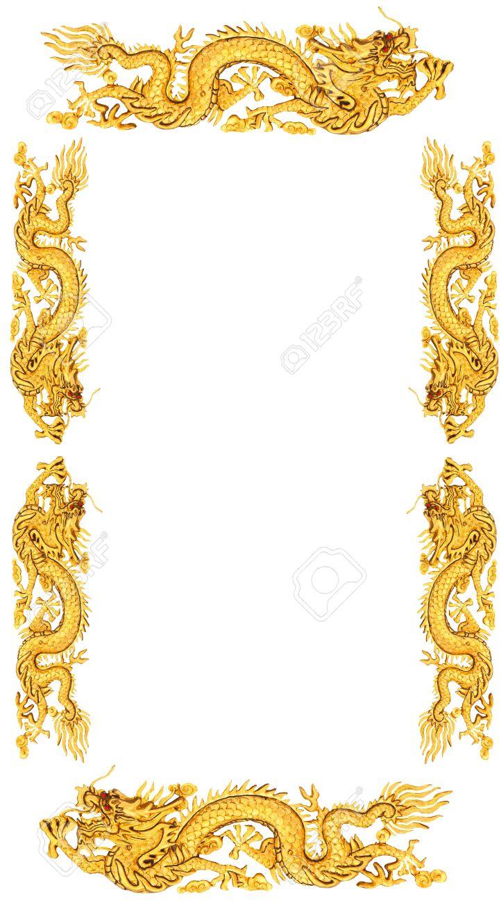 Golden Dragon Auf Weißem Hintergrund, Drachen Rahmen Lizenzfreie ...