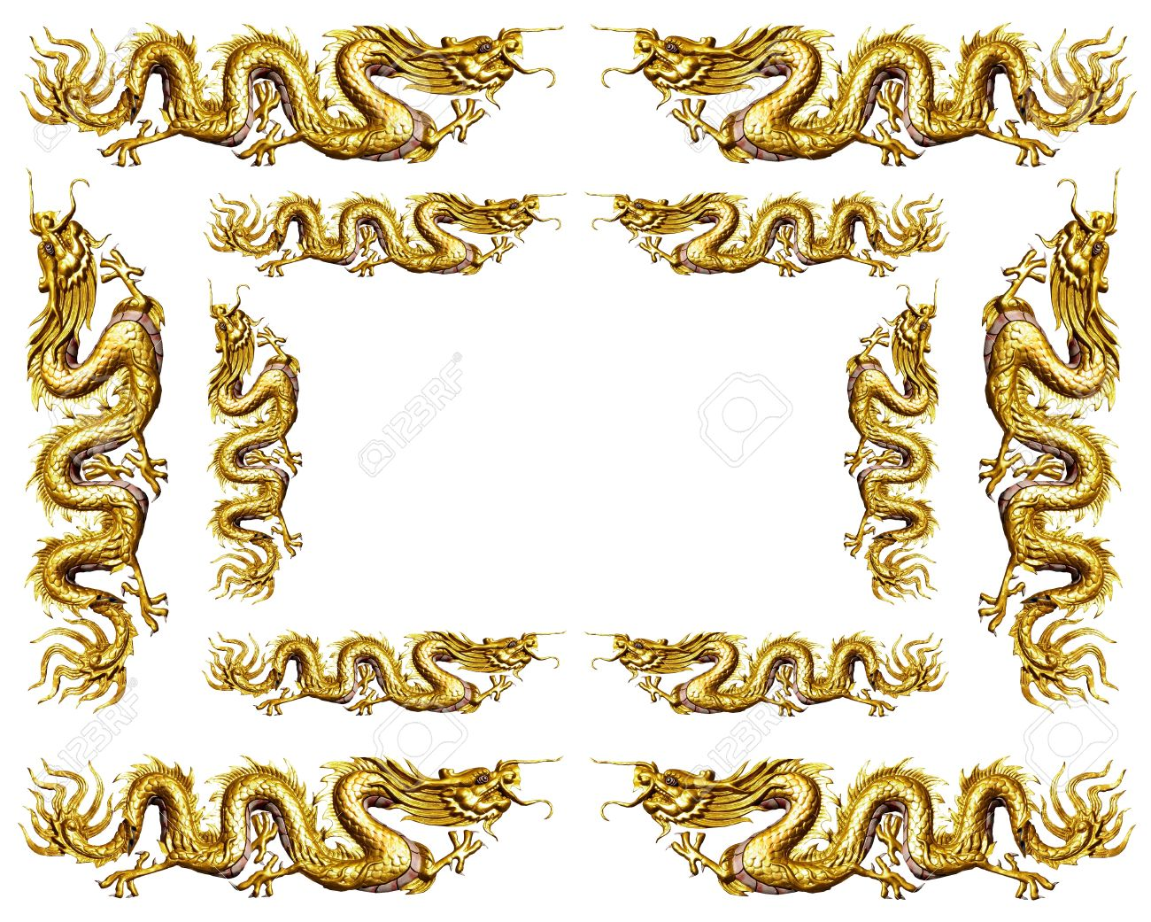 Golden Dragon Frame On White Background Stock Photo, Picture And ...
