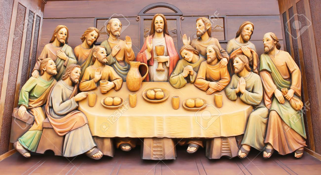 Last supper wood carving property room
