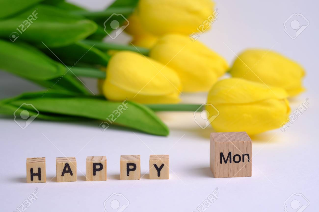 Close Up Of Happy Monday In Letter Wooden Block Selective Focus
