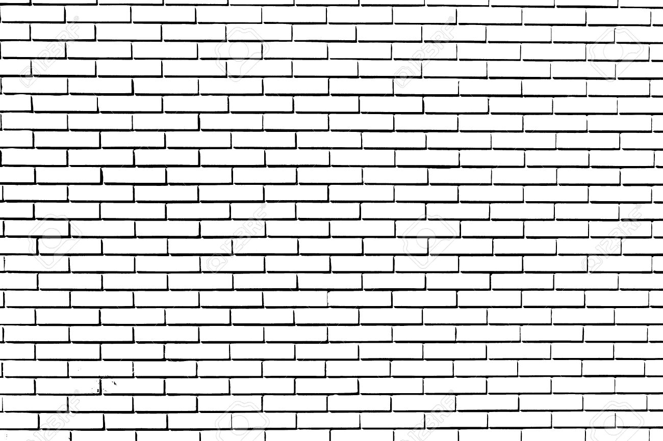 Drawing A Black And White Brick Wall Stock Picture And
