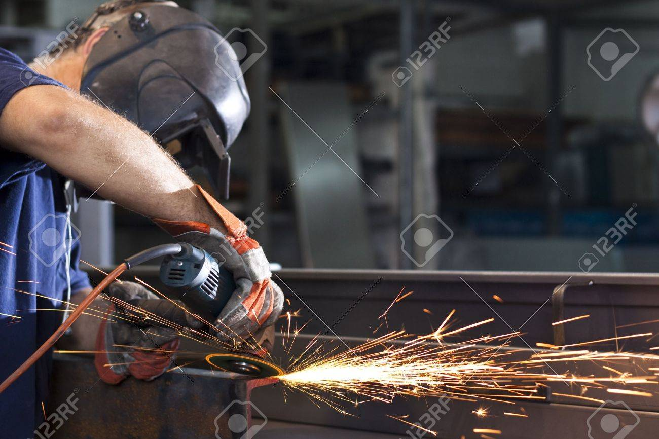 sparks during working with steel in the factory Stock Photo - 9313297