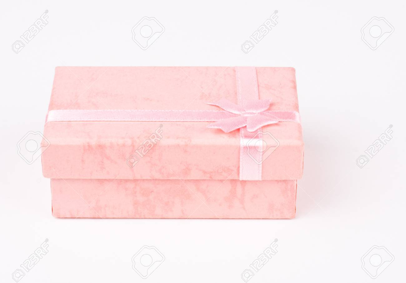Pink Jewelry Gift Box Isolated On White