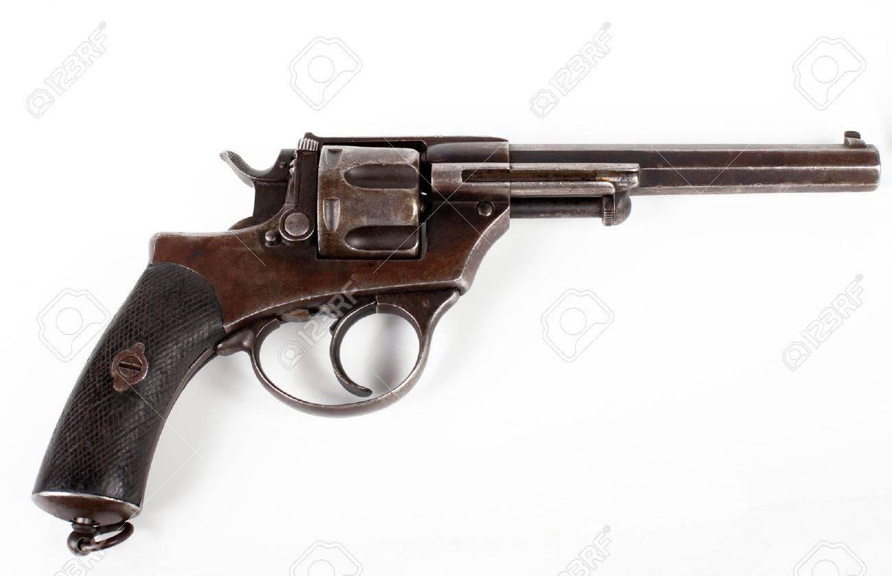 old black pistol close-up isolated on white background Stock Photo - 12910077