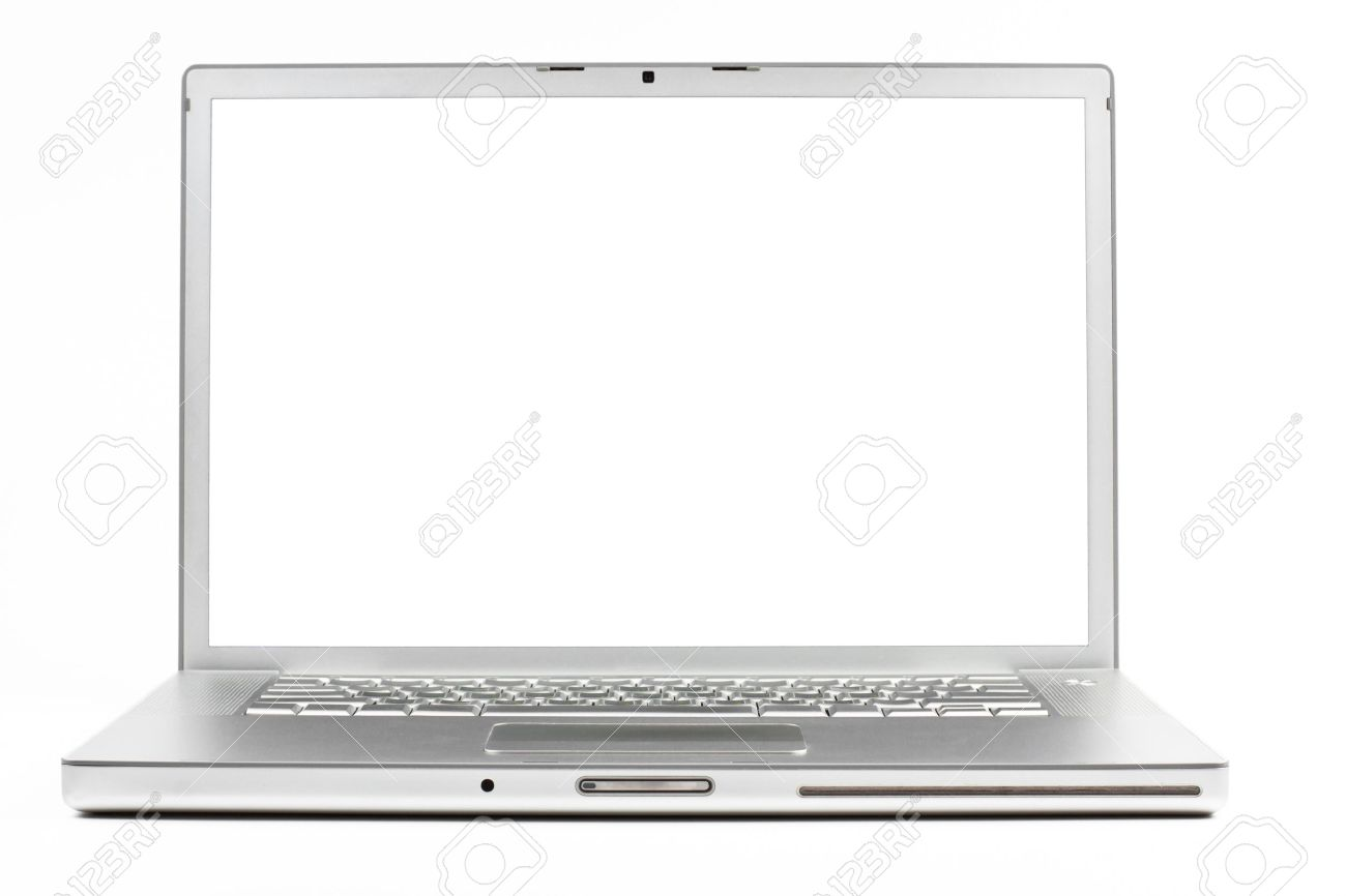 silver laptop front wiev with black screen isolated on white stock