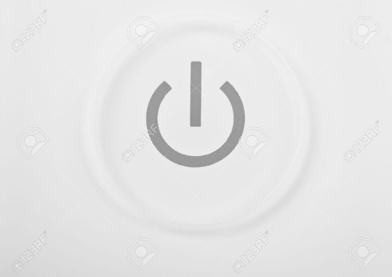 White power button macro close-up Stock Photo - 13418749