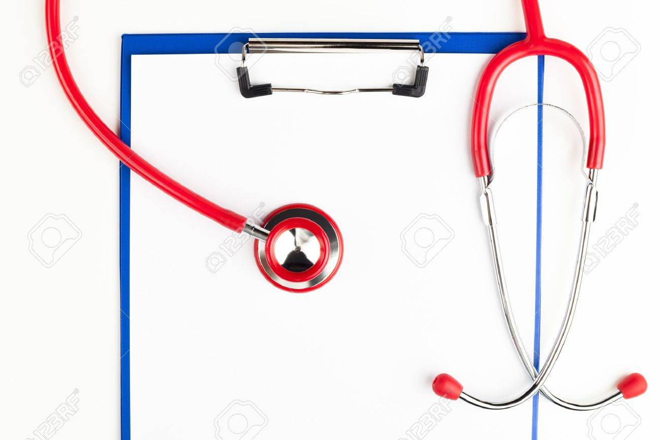 Red stethoscope on a empty  blue clipboard  crop isolated on white background Stock Photo - 16063867